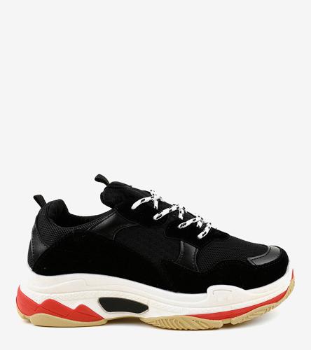 Czarne sneakersy na koturnie Porto Novo