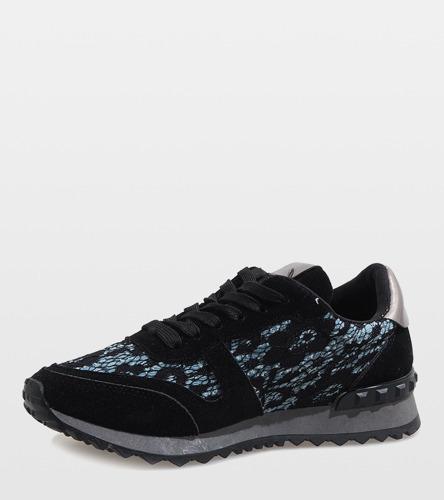 Czarne świecące sneakersy sportowe BeShi